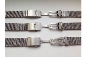 Сталевий Міланський Браслет ремінець для годинника Breitling, Longines, Omega на 22 - 24 мм Mesh, Milanese, Shark петля