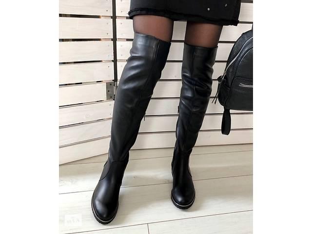 купить бу Зимние черные кожаные ботфорты в Тернополе