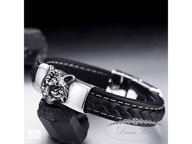 продам Браслет из нержавеющей медицинской стали на кожаном ремишку с магнитной застежкой «Лесной король» бу в Червонограде