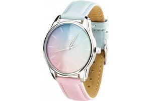 """Часы """"Розовый кварц и Безмятежность"""" (ремешок голубо-розовый, серебро) + дополнительный ремешок (4615085)"""