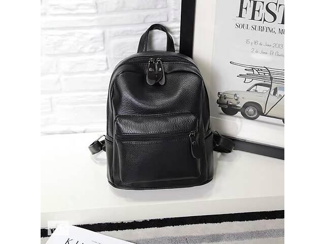 бу Черный женский городской мини рюкзак эко кожа, прогулочный маленький рюкзачок для девушек в Днепре (Днепропетровск)