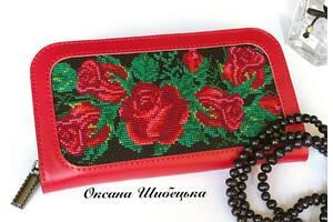 Червоний гаманець,шкіряний червоний гаманець, гаманець жіночий,гаманець з вишивкою,великий гаманець,гаманець шкіряний