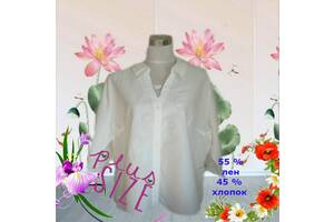 Debenhams ПОГ67 Батал Лен Шикарная блузка рубашка лен белая с вышивкой Англия
