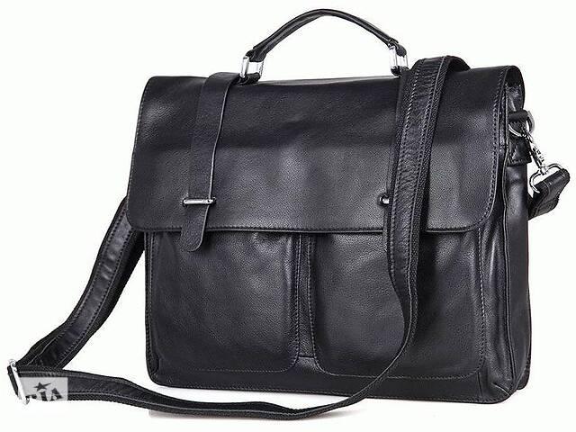 купить бу Деловой кожаный портфель, мужской S.J.D. 7100A, черный в Киеве