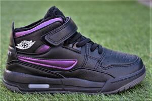 Демисезонные детские кроссовки высокие Nike Air Jordan retro найк черные р31 - 36