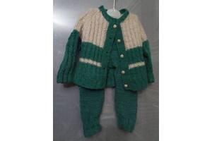 Детский теплый шерстяной вязаный костюмчик от 2 месяцев - кофточка и штанишки