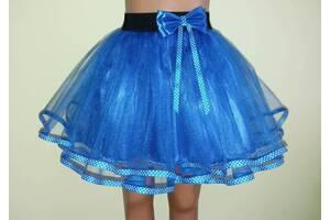 Детская юбочка на резинке, синяя, модель № 71