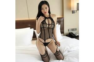 Эротическое секси бельё боди с чулками