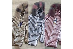 Классное зимнее пальто Бархат с натуральной опушкой теплющее до минус 30 градусов 34-44р