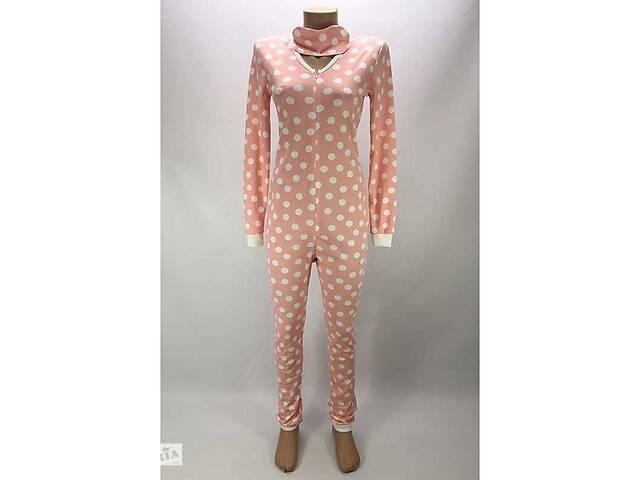 купить бу Комбинезон пижама Кигуруми женский на молнии 52-54 р. в горох Розовый (zolk_G-9593-52-54) в Киеве