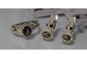 Комплект из серебра с золотом 375 и вставкой фианита