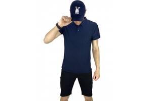 Костюм летний синий с черным Мужская футболка поло Мужские шорты трикотажные и Кепка SKL59-259647
