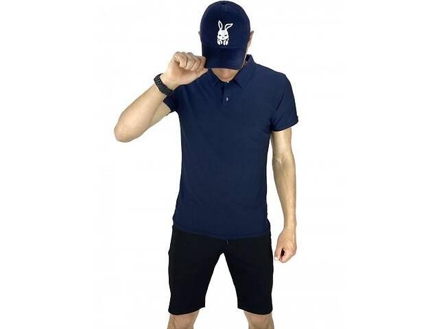 бу Костюм летний синий с черным Мужская футболка поло Мужские шорты трикотажные и Кепка SKL59-259647 в Киеве