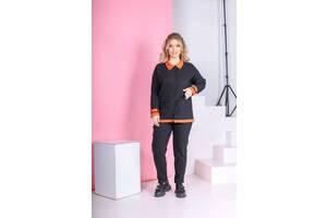 Костюм женский кофта на кнопках и штаны черный SKL11-291402