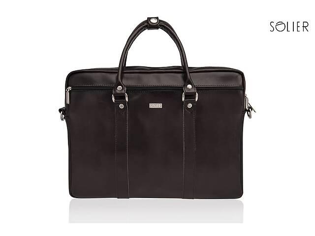 купить бу Кожаная сумка для ноутбука через плечо коричневая SlrSL03Brown в Киеве