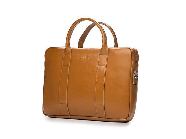 бу Кожаная сумка для ноутбука EDYNBURG на ремне светло коричневая SlrSL20Camel в Киеве