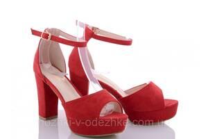 Красные замшевые босоножки на устойчивом каблуке закрытая пятка размер 36 37 38 39 40