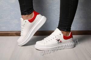 Кроссовки, кеды женские в стиле Alexander McQueen белые с красным 37 - 40 размеры