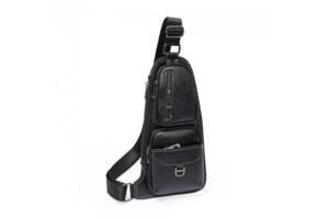 Мужская сумка Jeep через плечо рюкзак бананка Black (bks_02449)