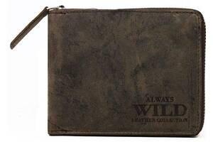 Мужское кожаное портмоне ALWAYS WILD N992AZB коричневое