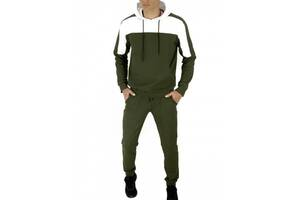 Мужской спортивный костюм хаки-белый SKL59-259562