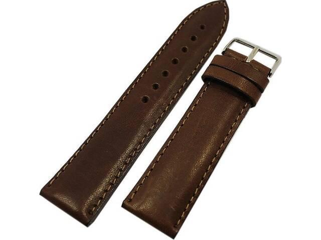 Мужской стильный ремешок для часов, кожаный Mykhail Ikhtyar 8011 коричневый