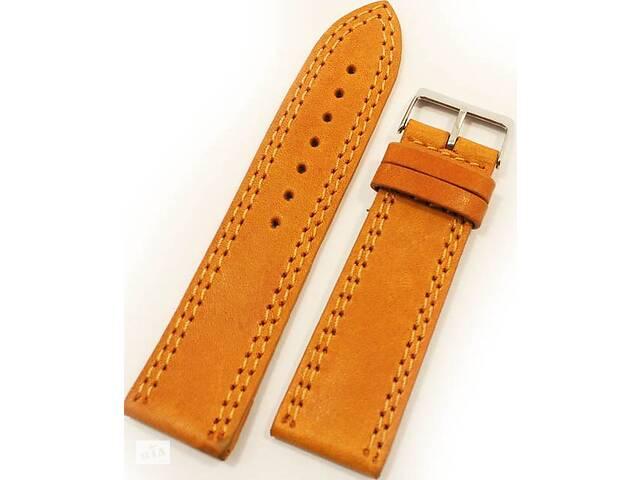 Мужской яркий ремешок для часов из натуральной кожи Mykhail Ikhtyar 8017 оранжевый