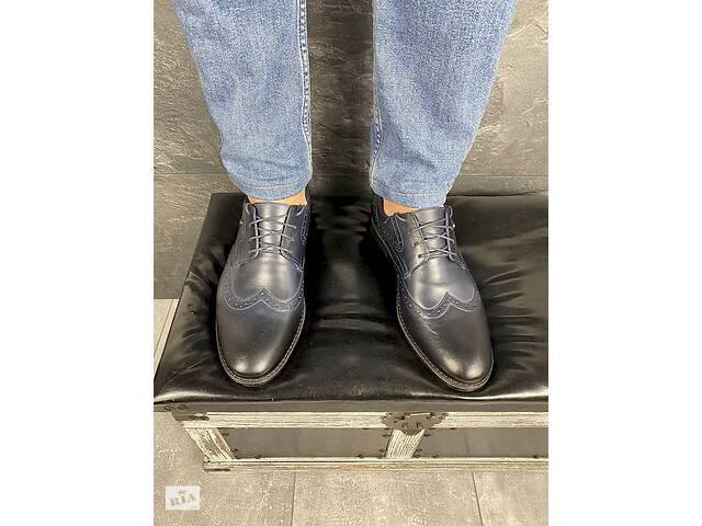 купить бу Мужские туфли кожаные весна/осень синие Vivaro 611 (Oxford) в Хмельницком