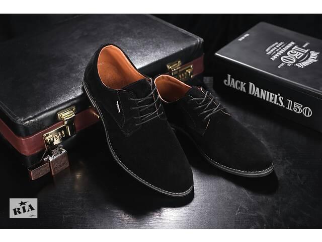 продам Мужские туфли замшевые весна/осень черные Yuves М5 (Trade Mark) (43) бу в Одесі