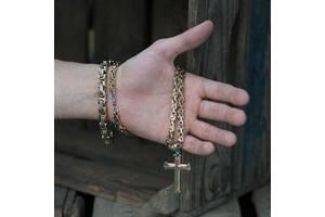 Набор украшений.Мужская цепь, крест, браслет из стали,  steel rage сталь 316L позолота 18 к