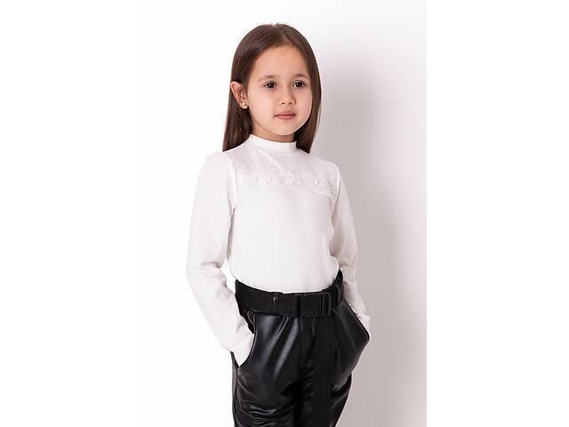 Нарядная молочная блузка с кружевом и длинным рукавом для девочки в школу Mevis 3783-02