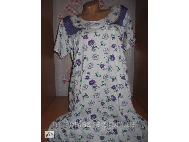 купить бу Нічна сорочка DOLLAR CLUB, 100% бавовна пр-во Узбекистан, розмір 50-52, короткий рукав - 2 кольори  в Україні