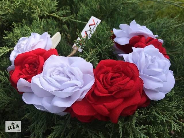 бу Ободок Красные и белые розы в Чернигове