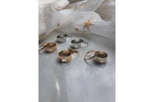 Парные кольца в золоте и серебре, колечки бабочки