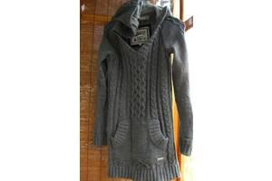 платье туника серое 10 С. реглан, вязанное, капюшон, зимнее, superdry, торг