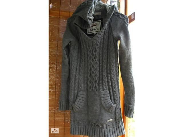 продам Платье туника серое 10 С. реглан, вязанное, капюшон, зимнее, superdry, торг бу в Запорожье