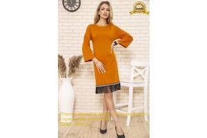 Платье женское миди с бахромой цвет Горчичный 167R1628