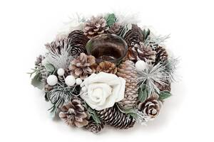 Подсвечник Белая Роза стеклянный с декором из шишек ягод и цветов (psg_BD-814-209)
