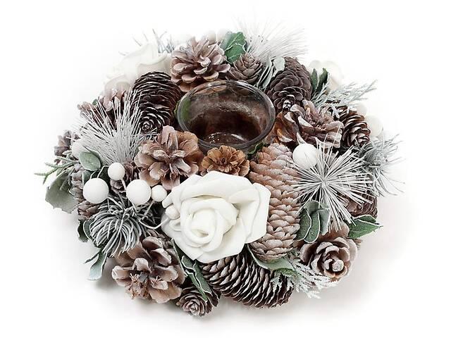 купить бу Подсвечник Белая Роза стеклянный с декором из шишек ягод и цветов (psg_BD-814-209) в Киеве