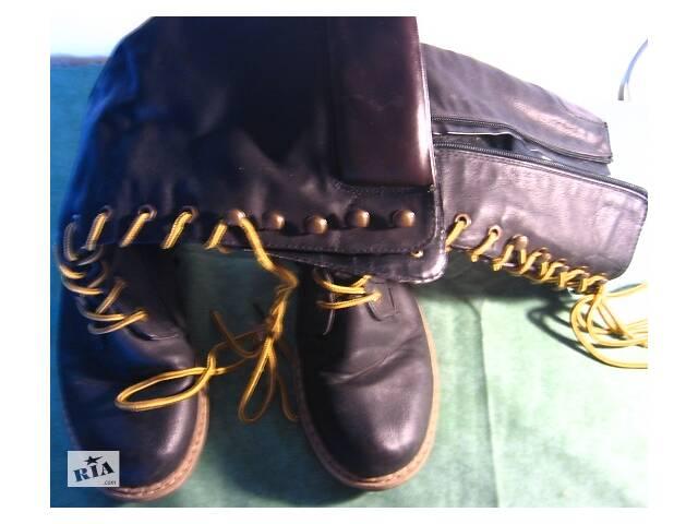 купить бу Сапоги 39 39.5 25.5 26 чёрные ботинки высокие, шнуровка, молния. торг в Запорожье