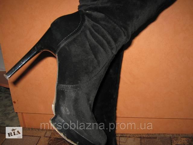 бу Сапожки замшевые женские черные, на  высоком каблуке, р-р.38 - б/у в Каменском (Днепродзержинск)