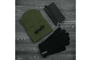 Шапка хаки зимняя big logo и перчатки черные зимний комплект и Подарок SKL59-283390