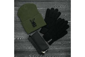 Шапка хаки зимняя bunny logo и перчатки черные зимний комплект и Подарок SKL59-283392