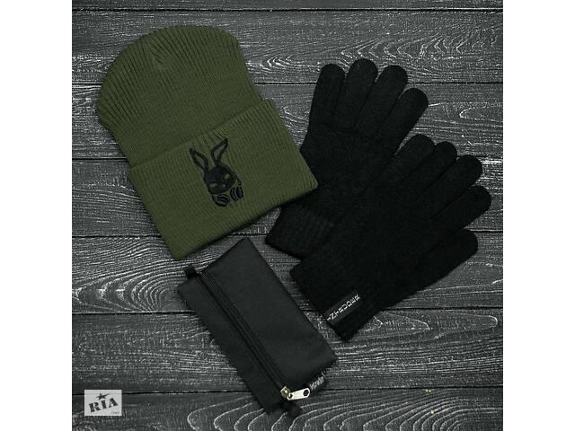 бу Шапка хаки зимняя bunny logo и перчатки черные зимний комплект и Подарок SKL59-283392 в Харькове
