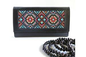 Шкіряний жіночий гаманець, гаманець з орнаментом, жіночий стильний гаманець, синій гаманець, гаманець