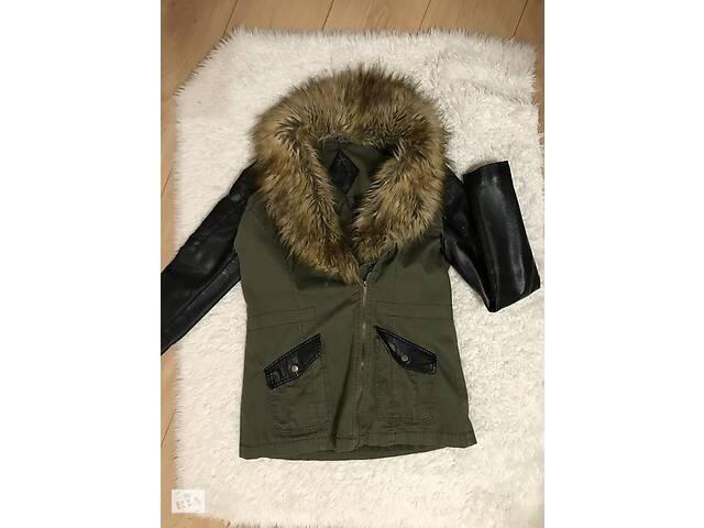 купить бу Ская куртка парка с мехом  кожаными рукавами atmosphere в Ивано-Франковске