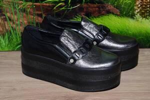 Сліпони, кросівки шкіра натуральна! С63 на платформі розмір 39 40