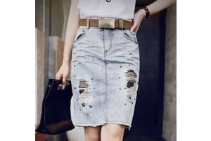 Стильная джинсовая юбка рванка