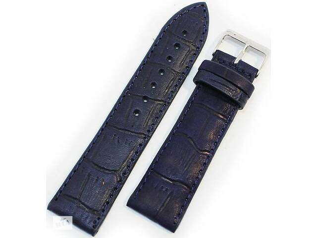 Стильный кожаный мужской ремешок для часов под кожу крокодила Mykhail Ikhtyar 22-018 синий