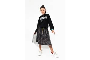 Темно-серая юбка с фатином для девочек (размеры 5-15 лет)